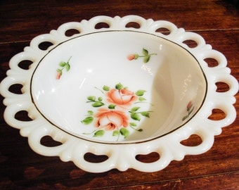 Milk Glass Bowl Hand Painted Gay Fad Lace Edge