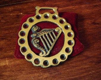 Horse Brass Irish Harp Eire Vintage