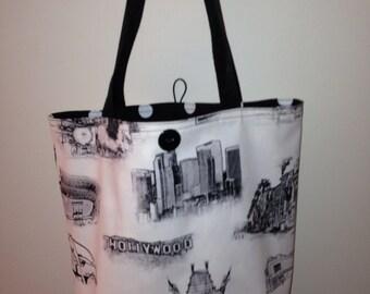 Los Angeles Icons Black and Natural Reversible Tote Bag - Cotton Handmade