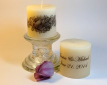 Lovebirds: Personalized Candle - Wedding Centerpiece Candle - Wedding Favor - Table Number - Custom Wedding Candle Favor - Custom Candle