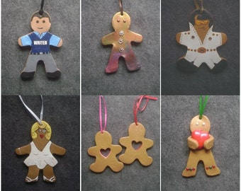 Assorted baked clay gingerbread ornament
