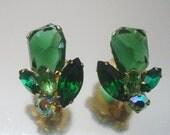 Juliana Tara Earrings  Designer Green Rhinestone  Vintage Jewelry D&E