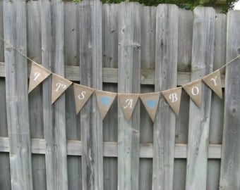 It's a Boy Burlap Bunting Banner