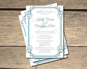 Bordered Bliss Monogram Wedding Invitation