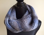 Infinity Scarf-Blue Ombre Scarf-Hand Knit Scarf-Sparkle Infinity Scarf-Women Scarf-Warm Infinity Scarf-Soft Infinity Scarf-Grey Blue Scarf