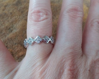 Cubic Zirconia and Silver Ring  Size 6