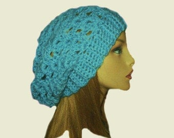 Slouchy Beanie Crochet Knit Light Teal Blue Green Aqua Slouchie Beany Slouch Teen Womens Slouchie Hat