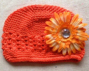 Orange Baby Girl Crochet Kufi Hat with detachable silk flower- Orange Kufi Hat with an Orange Flower Baby, Toddler, Girl