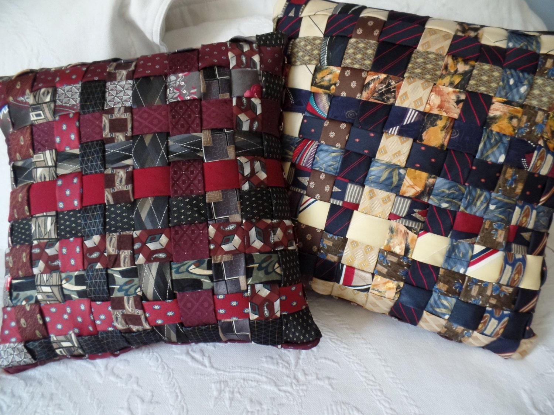 Custom Decorative Woven Necktie Pillow 14 or 16