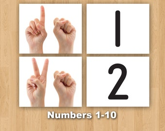 Digital Printable Montessori One to One Correspondence - Numbers 1-10 with Hands