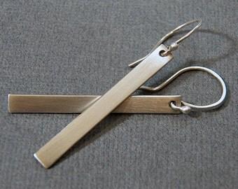 Sterling Silver Rectangle Bar Dangle Earrings - ALL LENGTHS - Modern Minimal Chic Design