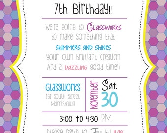 CUSTOM Little Girl Mosaic Birthday Party Invitations -- Made To Order -- Customizable