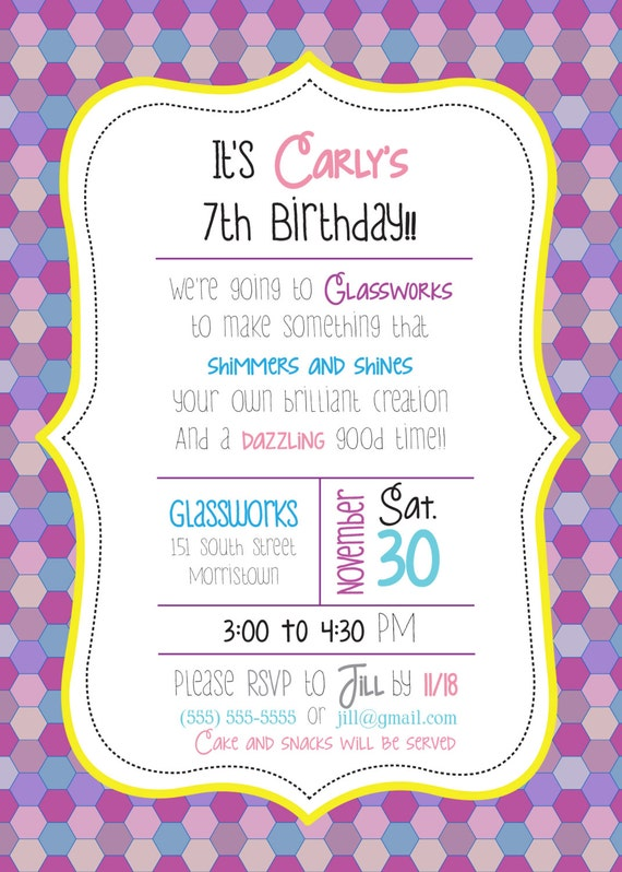 CUSTOM Little Girl Mosaic Birthday Party Invitations Made To