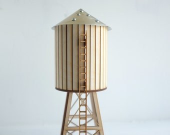 NEW! NYC water tower - miniature tabletop wooden water tower - gold aluminum roof and accents  - industrial cityscape decor - geometric