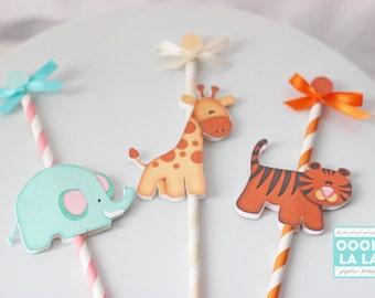 Let's Go On a Safari Cupcake Topper/Picks- SET OF 6