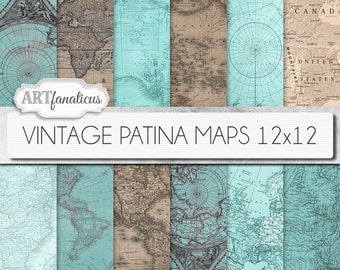 "Vintage maps 12x12 digital papers, ""VINTAGE PATINA MAPS 12x12"" backgrounds,patina, vintage map, world map, America, Europe, Asia, Australia"