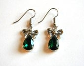 Emerald Green Swarovski Crystal Teardrop and Bow Earrings - Christmas Jewelry - Gifts Under 15, 20, 25 - Jewelry Set
