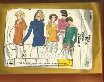1970's Vogue 9326 Hooded Scoop & Bateau Neckline Tee Shirts Size 14