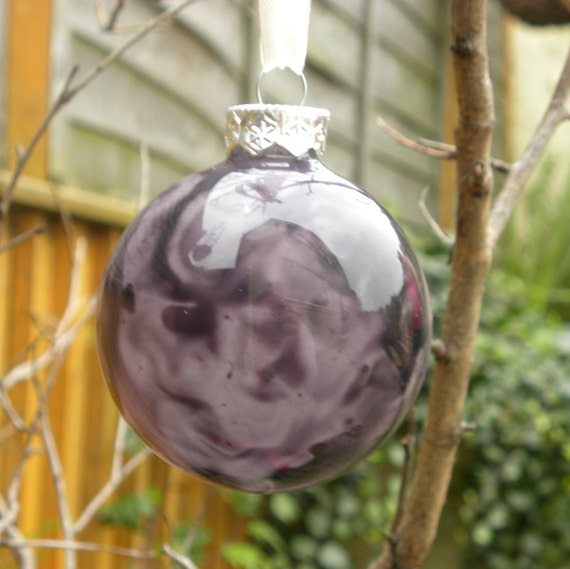 Hand Coloured Purple Marbled Glass Bauble, Christmas Decoration, Home Decor, Handmade, OOAK, FatassDesigns