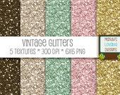 SALE - Vintage Glitter Texture Set - Scrapbooking Cards Invitations - Pink, Green, Gold, Brown, Cream - High Resolution png - CU OK