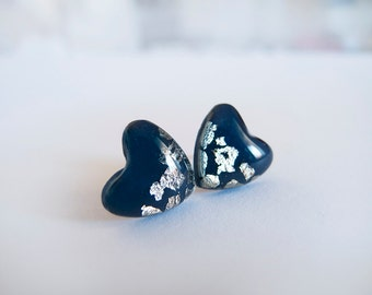 Navy Blue Silver Heart Stud Earrings - Hypoallergenic Surgical Steel Post