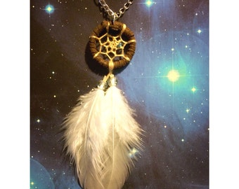 Mini dream catcher necklace with white feathers dreamcatcher