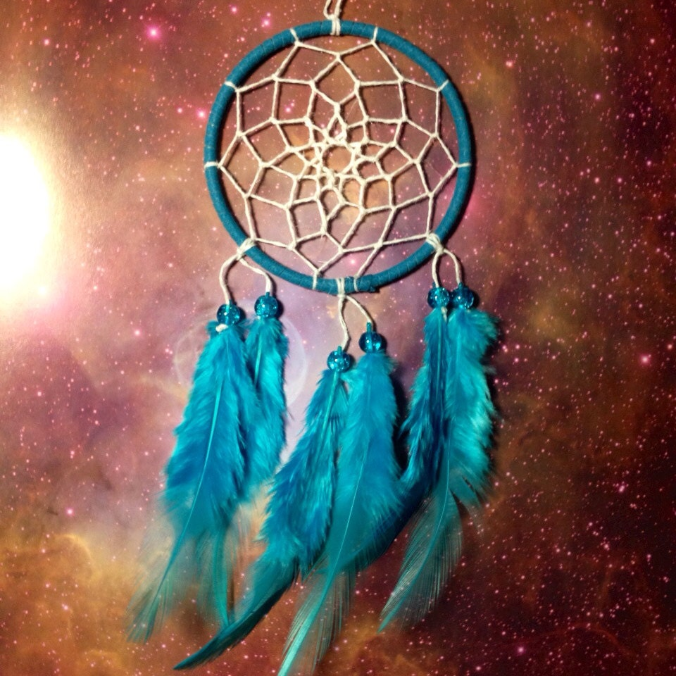 Pictures Of Dream Catchers: Blue Dream Catcher Faux Suede Blue Feathers White Web And