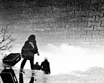 Black and white, rain, reflection, women,  woman, travel, street, leave, rain photography, art print, wall art, 10x15 inch