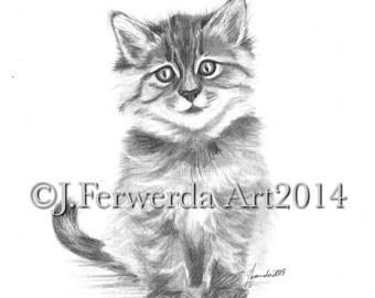 Pencil Drawing Print - Lil Kit's Smile - Week 4 Day 6