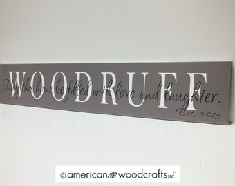 "Personalized Family Name Sign 7""x36"" custom established wedding sign"