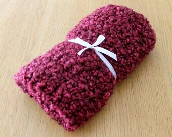 Burgundy Wine Chunky Crochet Baby Photo Prop Blanket. Baby Car Seat/Comforter/Stroller Blanket.