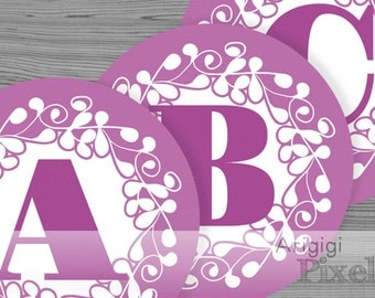 large alphabet circle - number circles - purple banner letters - ornate design 6.8 in circles - printable PDF files
