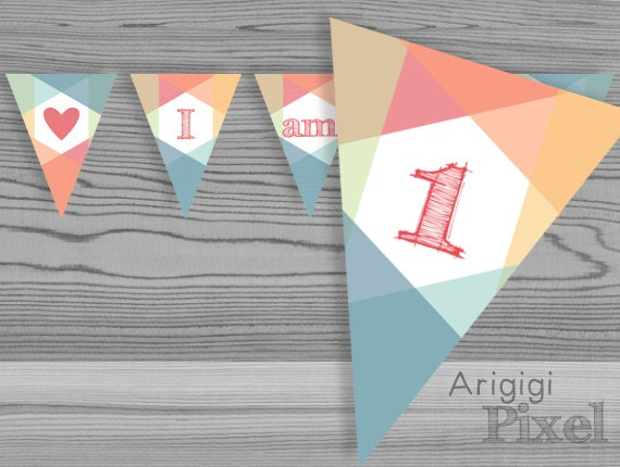 Printable I am 1 highchair banner - 1st birthday party pennants - color blocks