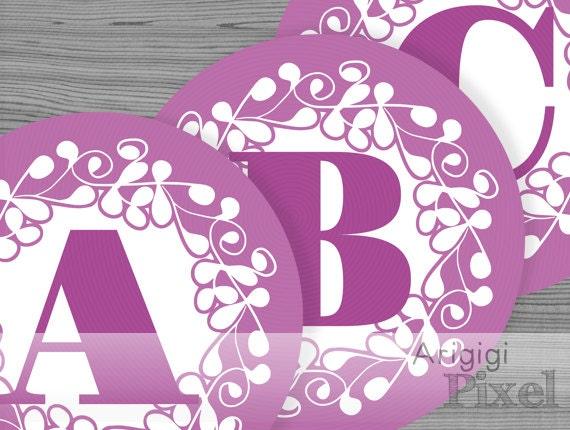 large alphabet circle - number circles - purple banner letters - ornate design 6.8 in circles - printable PDF files