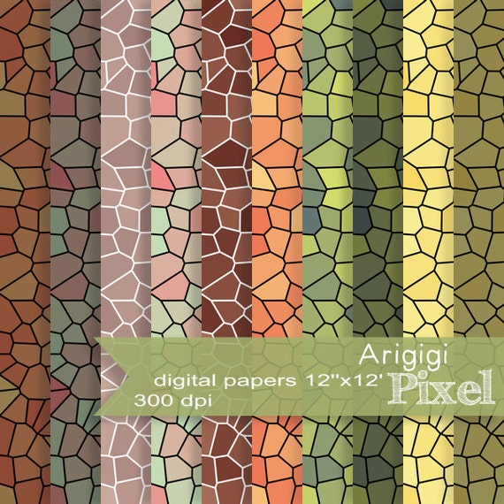autumn digital paper set of 10, earth tones sheet, mosaic papers, spring scrapbooking, green backdrops  download