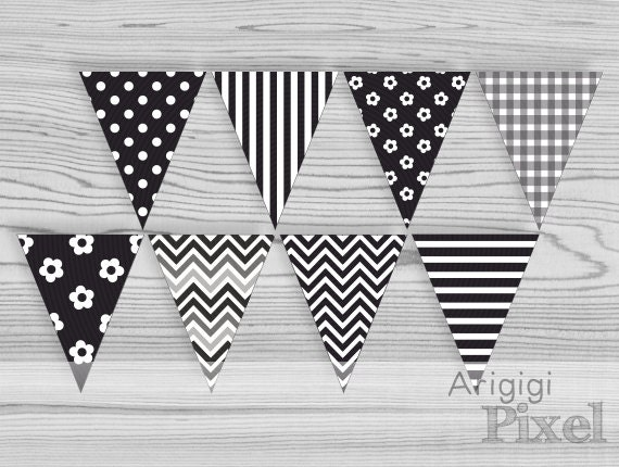 Black White Banner Printable - Bachelorette Party - Bride to Be Party Pennant - 8 different patterns - PDF file Download