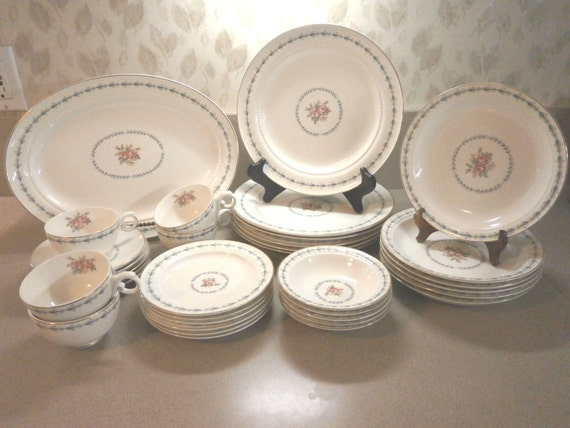 "Hall China, Harmony House, Mount Vernon; Service for (6) 6-piece place settings and 13.5"" Platter; 37 pieces"