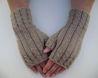 Fingerless Gloves/ Handwarmers in Stone Colour. Hand-Knit.Ready to Ship.
