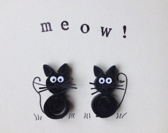 Quilled Cats Card, Unusual Original Card, ©ElPetitTaller, Black Cats, Quilled Art, Blank Card