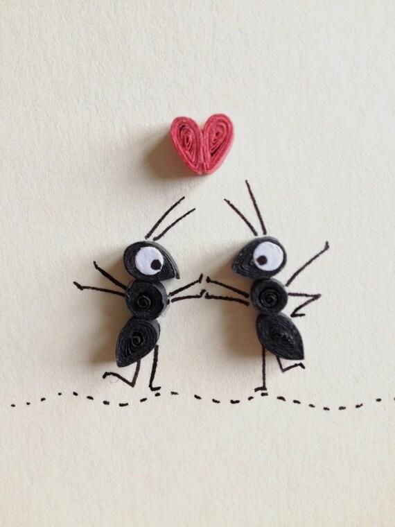 carte de saint valentin coeur rouge et noirs fourmis. Black Bedroom Furniture Sets. Home Design Ideas
