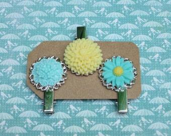 Flower clips, hair clips, aqua and yellow, bridal hair clips