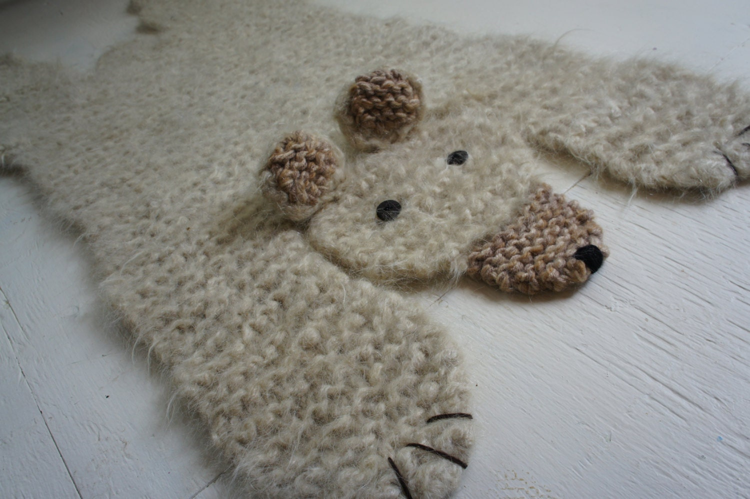 Polar Bear Rug Knitting Pattern : Hand knit inch off white polar bear rug mat blanket