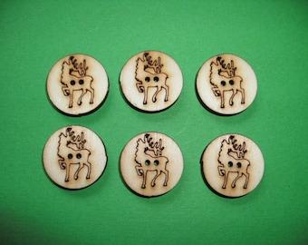 6 Wooden Buttons Deer, 2 cm (15-0002A)