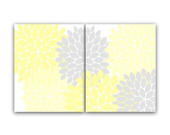 Home Decor Wall Art, INSTANT DOWNLOAD Yellow and Grey Flower Burst Art, Bathroom Wall Decor, Yellow Bedroom Decor, Nursery Wall Art - HOME66