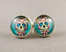 Stud Earrings - Blue Sugar Skull Glass Cabochon