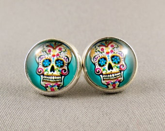 Stud Earrings Glass Cabochon - Blue Sugar Skull