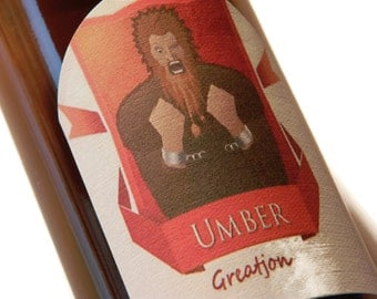 Game of Thrones Umber Greatjon Adhesive Beer Labels (Sheet of 9 labels),house umber,game of thrones gift,greatjon umber,umber beer labels