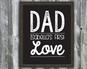 Personalized Dad a Daughter's First Love Quote - Wall Art - Customizable- Fathers Day Gift-  Dad Quote- Children's Names