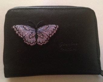 Butterfly Leather Wallet Credit Card / ID Holder Butterflies