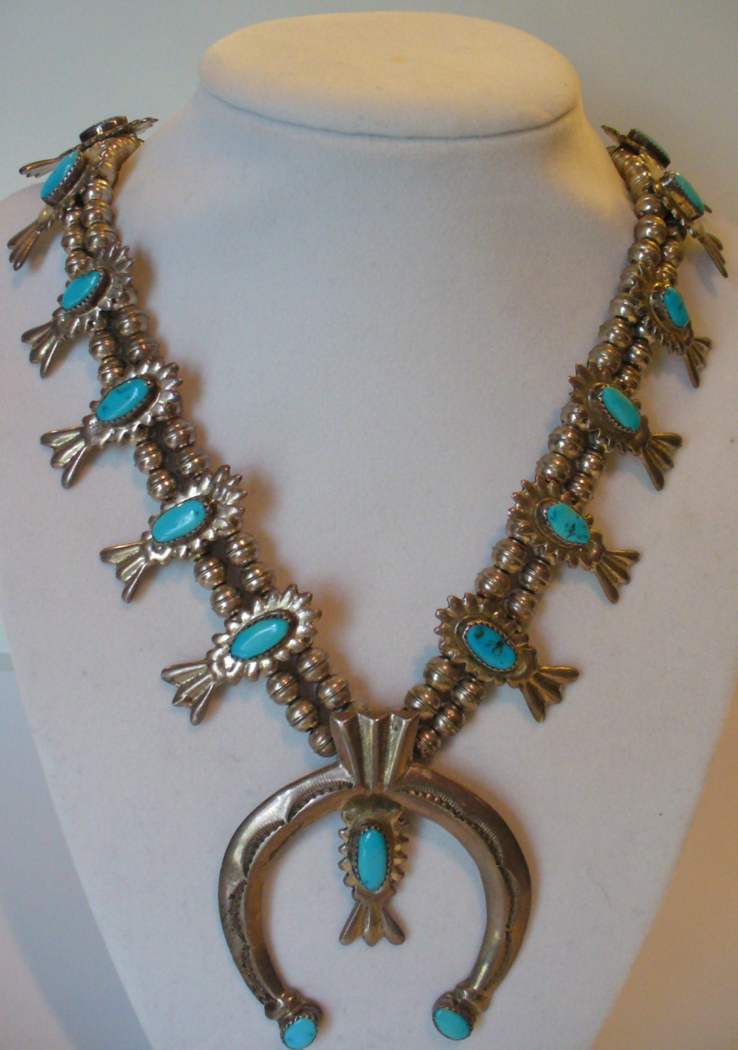older native american squash blossom necklace with sandcast
